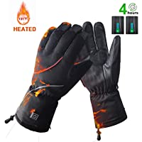 BIAL Heated Winter Ski Gloves, Waterproof Windproof Battery Snow Gloves for Skiing Snowboarding Climbing Hiking Cycling, Non-Slip Leather Palm Work Gloves Warm Cold Weather Gloves for Men Women