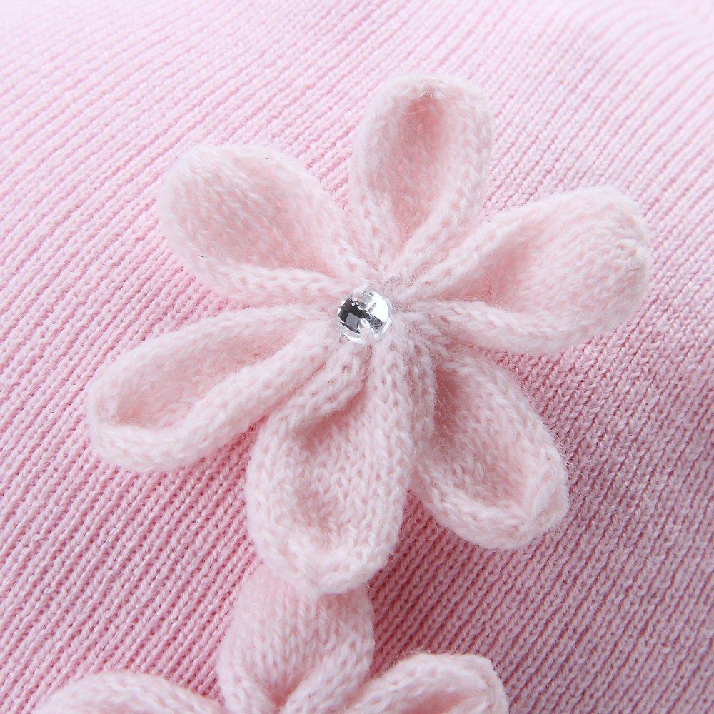 Vivobiniya Baby Winter Hats Toddler Girl HatsKnitted Cap Baby Flower Hats 0-6T