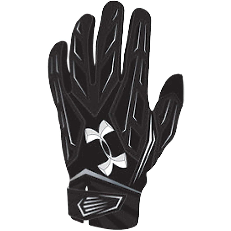 Under ArmourメンズUA Nitroワープパッド入りFootball Gloves 黒/ 黒/ 白い Medium