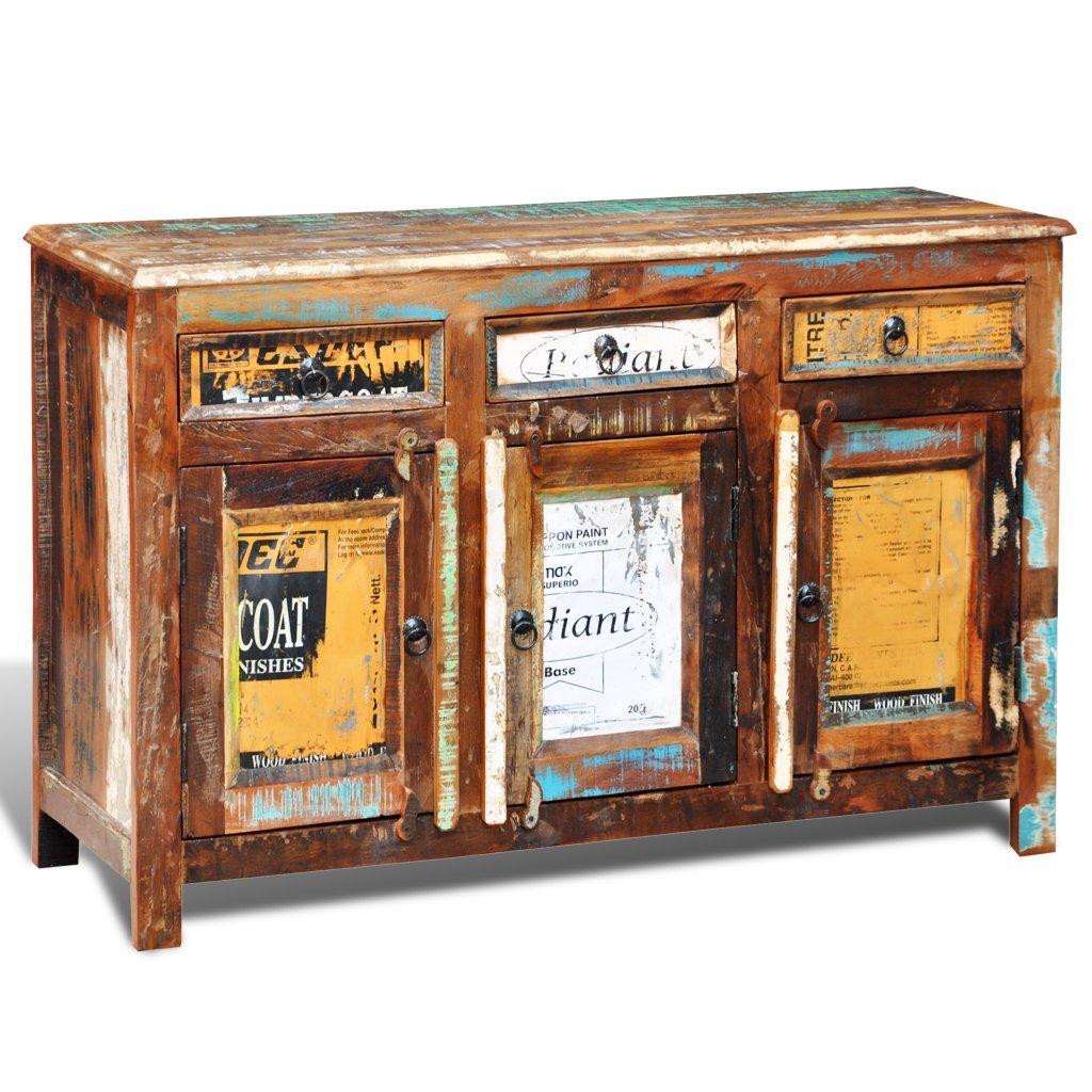 elegant vidaxl teak massivholz antik kommode sideboard tv hoch schrank vintage tren amazonde kche u haushalt with kommode sideboard massivholz