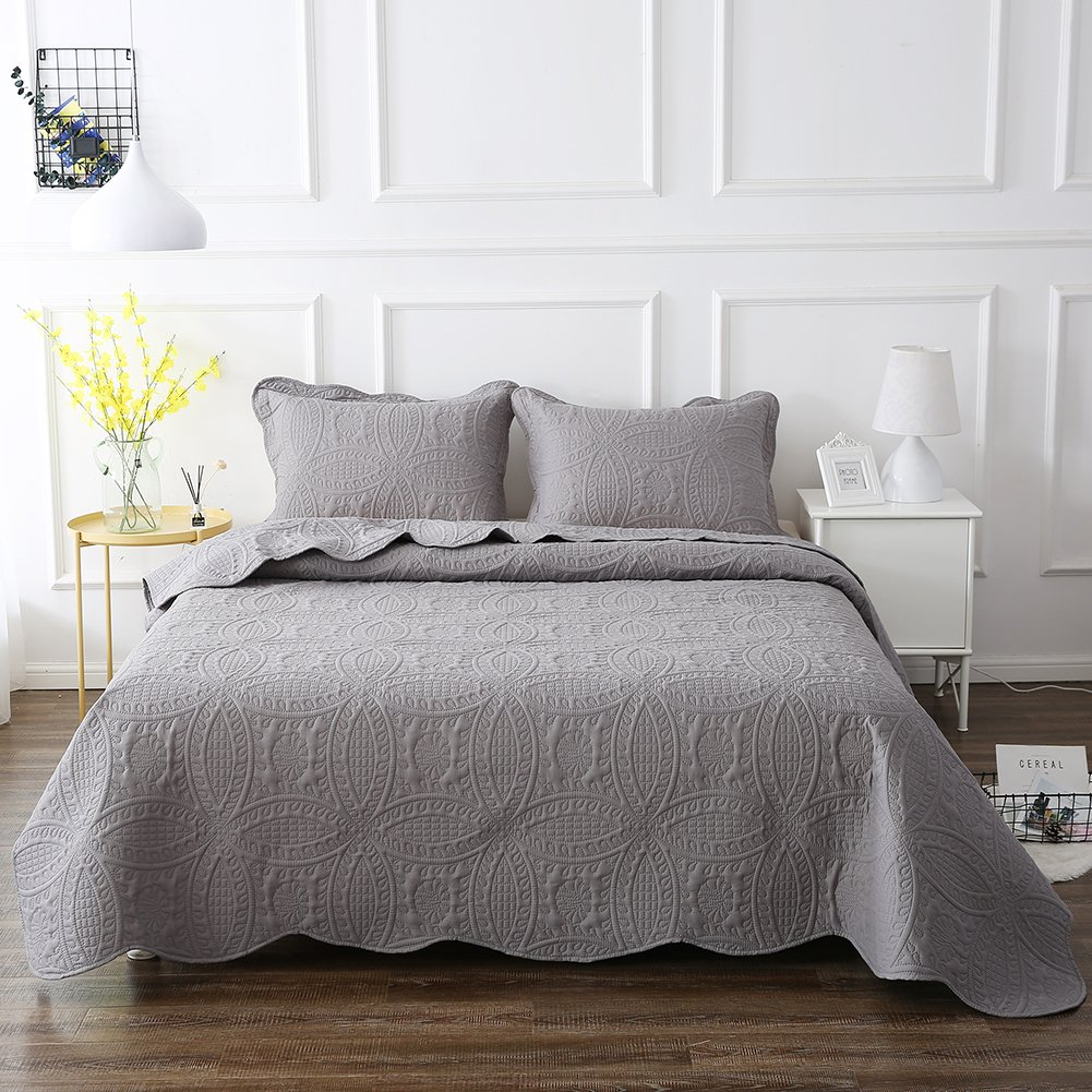 NEWLAKE Microfiber Lightweight 3 Piece Bedspread Coverlet Set,Embossed Coins Pattern, King Size
