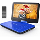 """DBPOWER 10.5"""" Portable DVD Player with Rechargeable Battery, Swivel Screen, SD Card Slot and USB Port - Blue"""