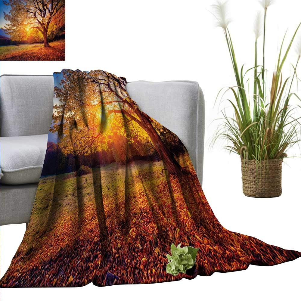 """AndyTours Summer Blanket Fall Tree,Big Majestic Autumn Tree Shedding Faded Leaves on The Hill Slop Seasonal Landscape,Brown Lightweight Breathable Flannel Fabric Machine Washable 70""""x90"""""""