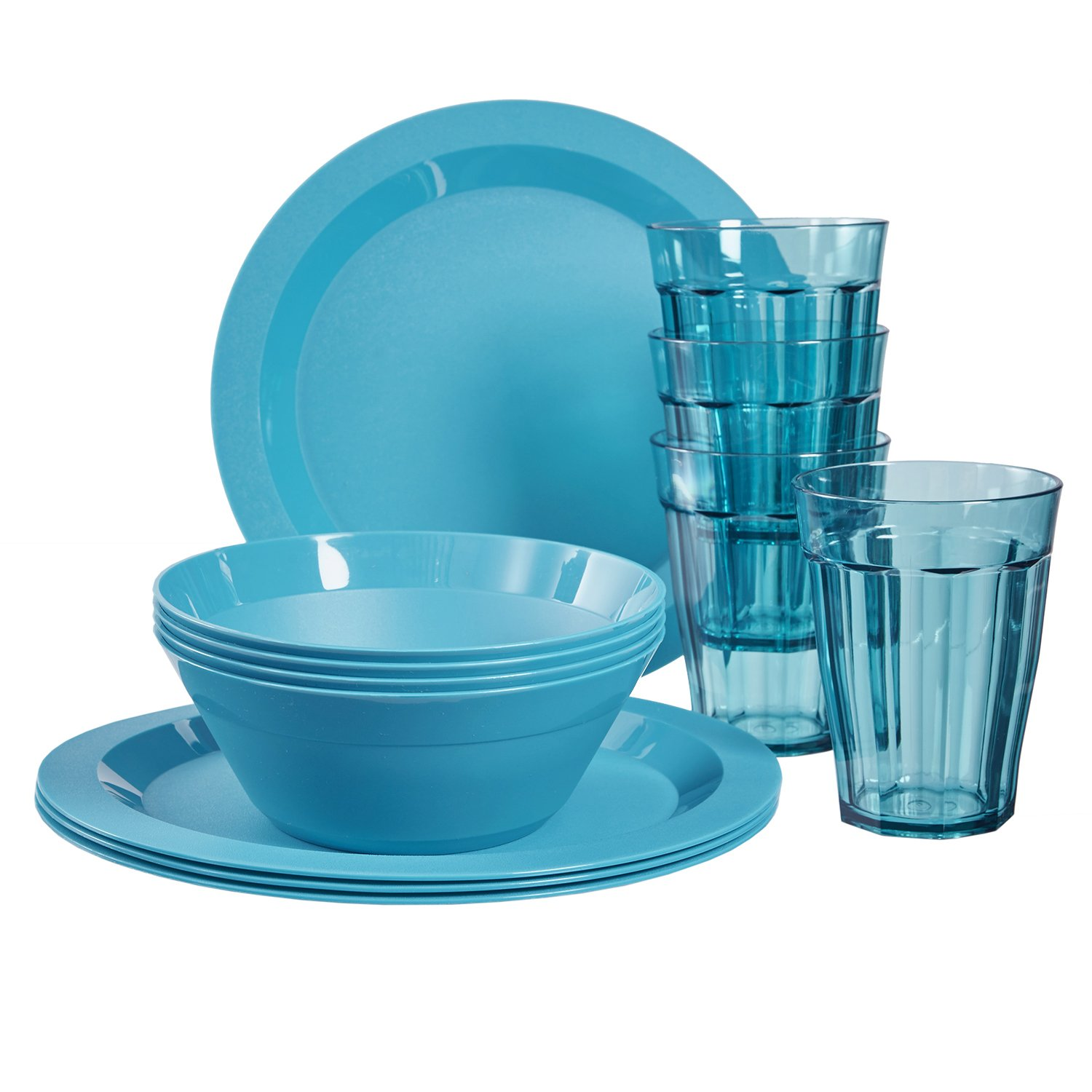 Cambridge Plastic Plate, Bowl and Tumbler Dinnerware | 12-piece set Teal by US Acrylic (Image #1)