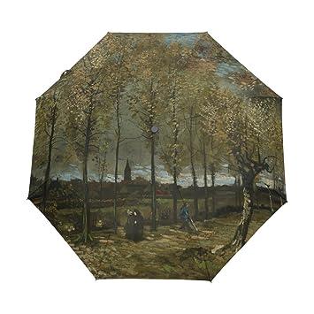 Vipsk Paraguas Plegable Pinturas de Van Gogh de Viaje Paraguas Prueba de Viento Compacto automático Lluvia