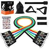 Turefans Resistance Bands Set, 11PC Exercise Bands Workout Bands with Door Anchor, Handles, Ankle Straps and Carry Bag for Resistance Training and Body Stretching Physical Therapy