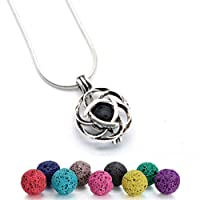 GraceAngie Lava Stone Celtic knot Minimalist Essential Oil Diffuser Necklace Antique Silver Aromatherapy Necklace Jewelry
