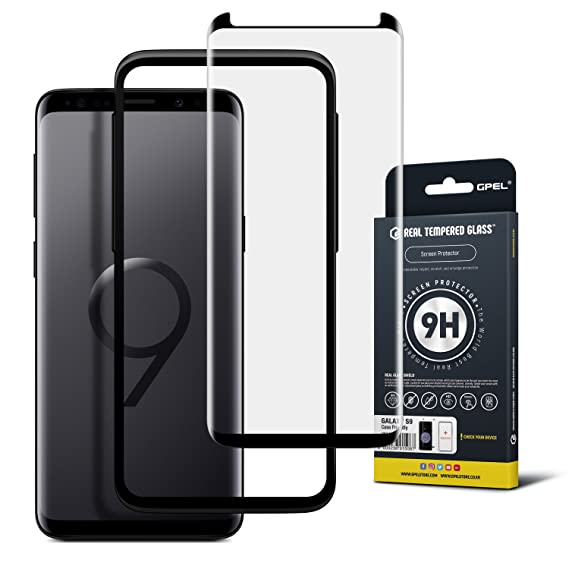 buy popular e5932 bdfda GPEL Screen Protector for Samsung Galaxy S9 Premium Tempered Glass, Case  Friendly, 3D Curved, no Bubble with Easy Installation applicator (not S9 ...