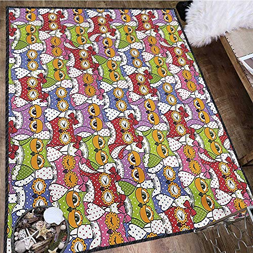 Owl, Anti Skid Rugs, Ornate Owl Crowd with Different Sights and Polka Dots Like Matryoshka Dolls Fun Retro Theme, Door Mats for Inside 5x7 Ft Multi by protectormax (Image #2)