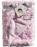 Blankets & Beyond Pink Baby Blanket Soft Swirl Rosettes