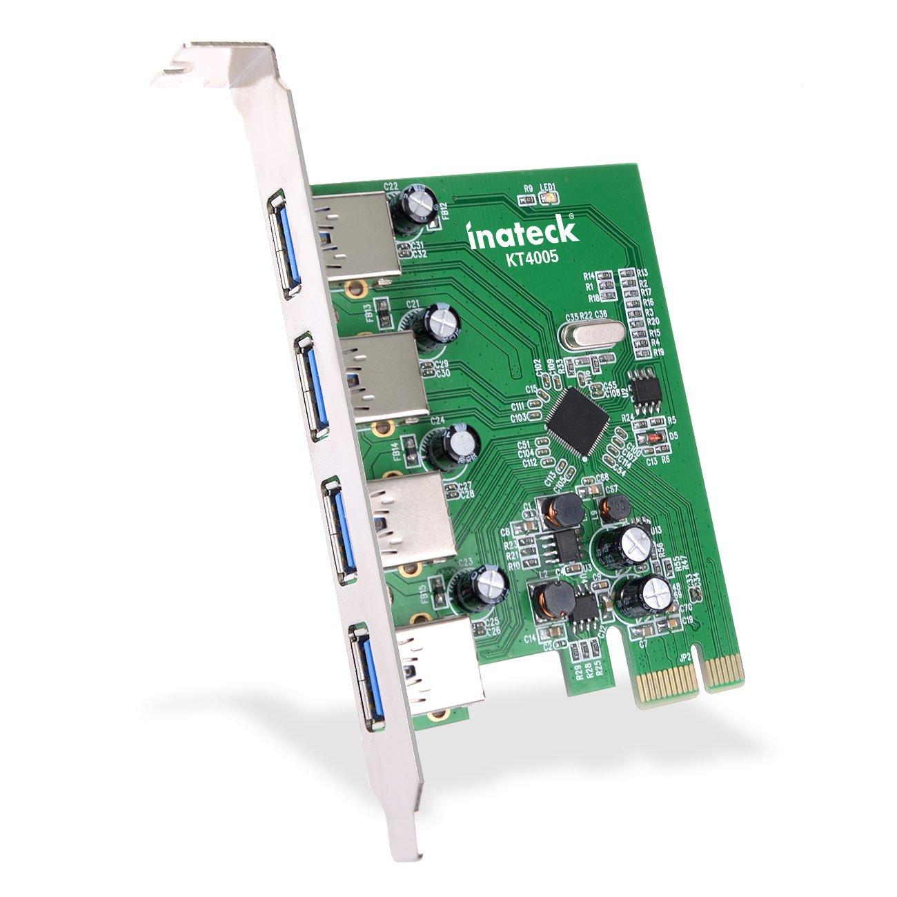 Tarjeta de expansión PCI-E a USB 3.0 Inateck de 4 puertos, tarjeta Express USB 3.0 compatible con escritorio Windows XP