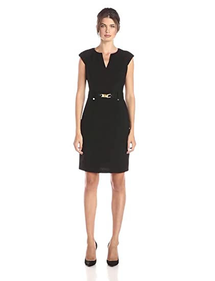 a2f39929842 Calvin Klein Women s Shift Dress with Gold-Tone Hardware at Amazon Women s  Clothing store