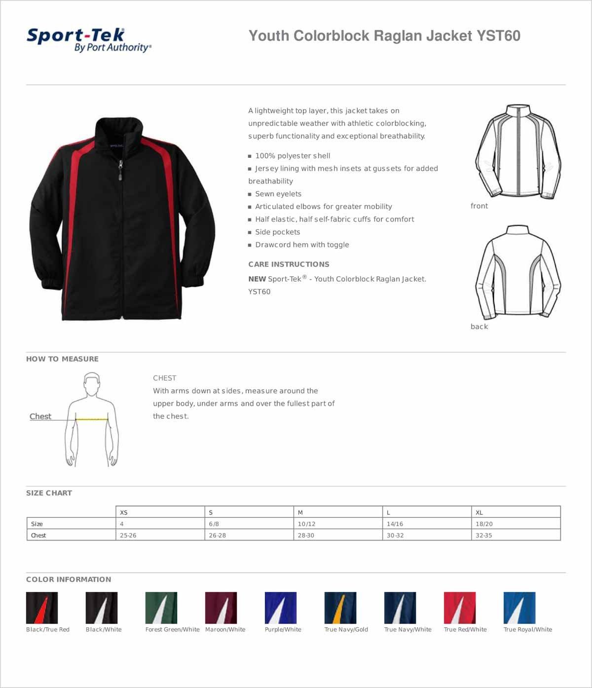 Sport-Tek YST60 Youth Colorblock Raglan Jacket