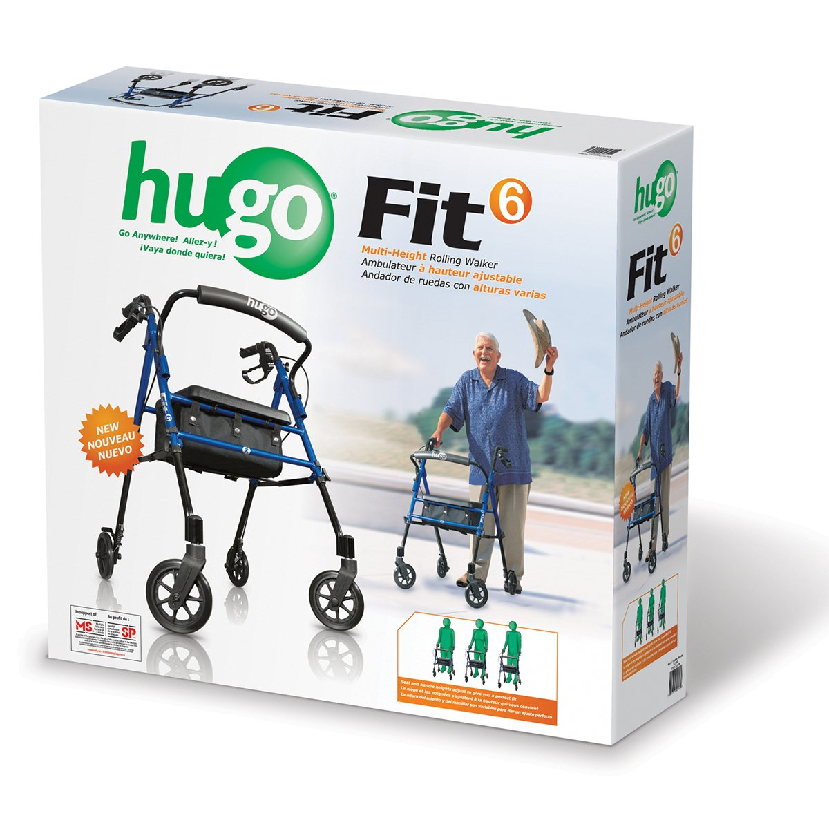 Hugo Mobility 700-913 Fit Rollator Walker with Padded Seat, Backrest and Storage Bag, Pacific Blue