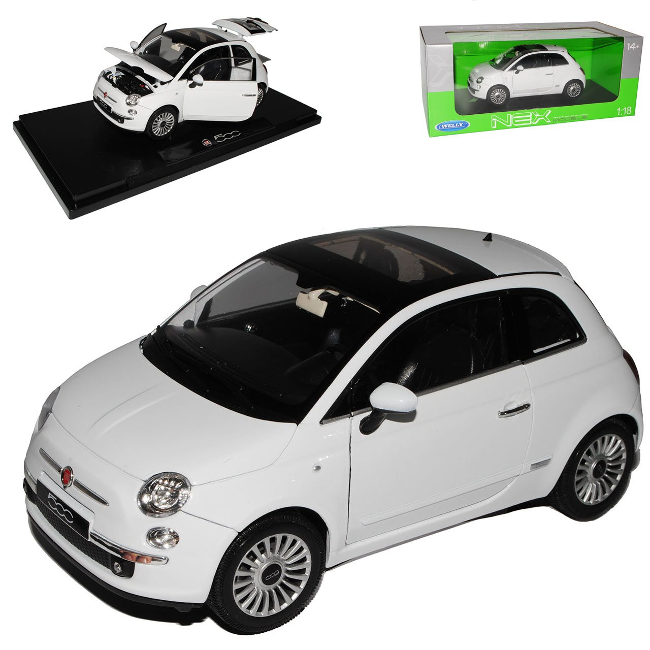 Welly FIAT 500 Nuova Weiss Coupe Coupe Coupe Ab 2007 1/18 Modell Auto cab322