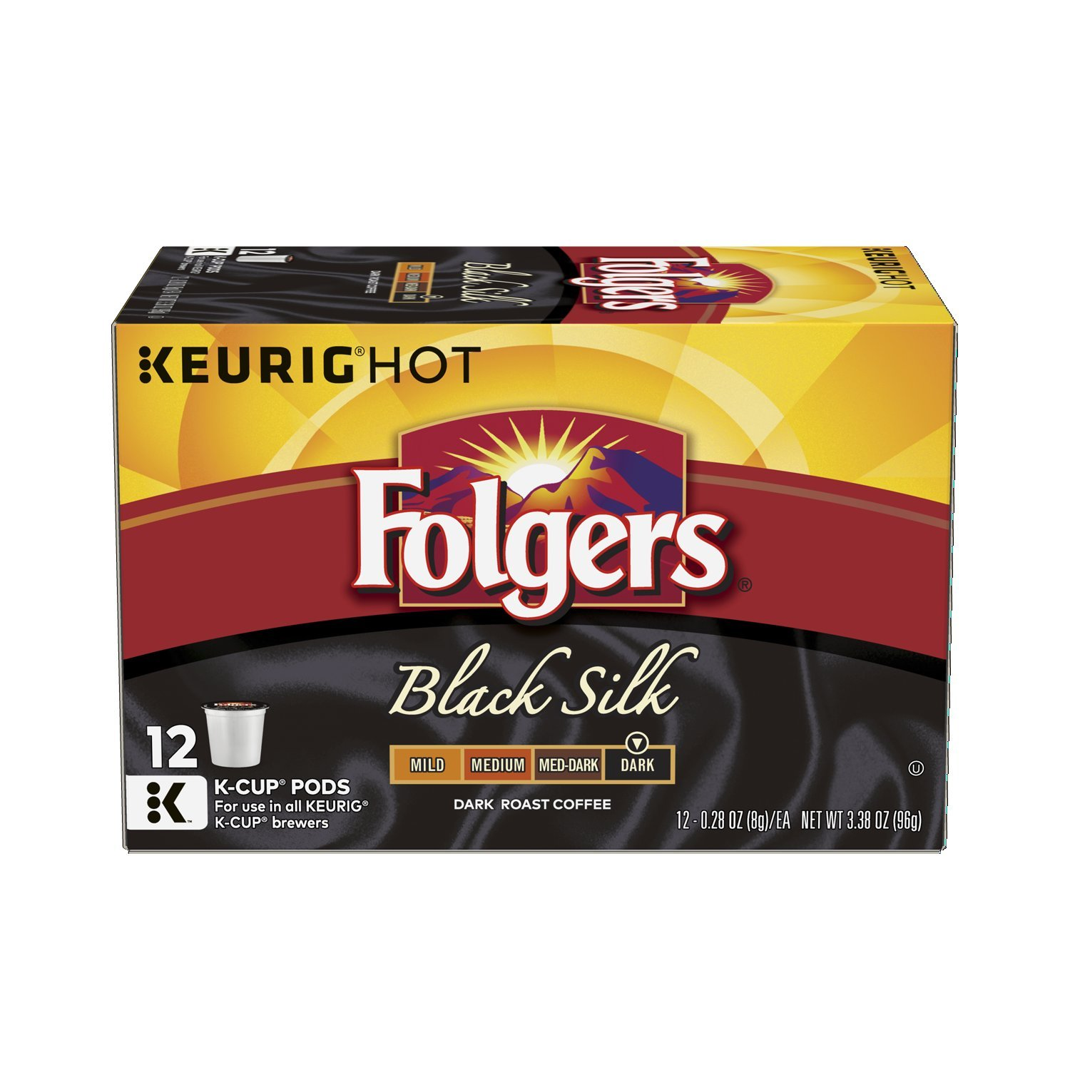 Folgers Black Silk Coffee, Dark Roast, K-Cup Pods for Keurig K-Cup Brewers, 12-Count (Pack of 6) by Folgers (Image #2)