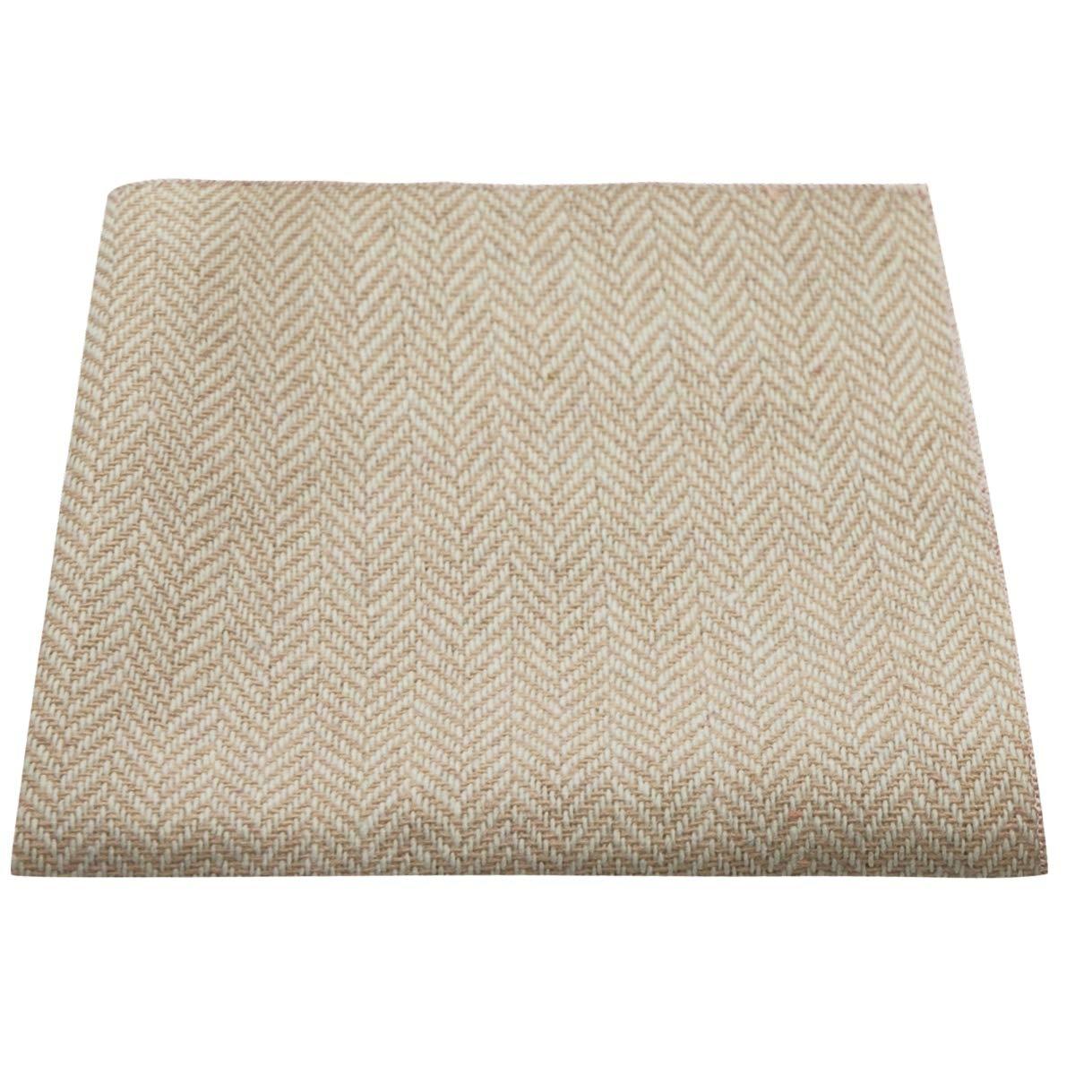 Fazzoletto da taschino color argento e crema in tessuto esclusivo con disegno a spina di pesce Pochette
