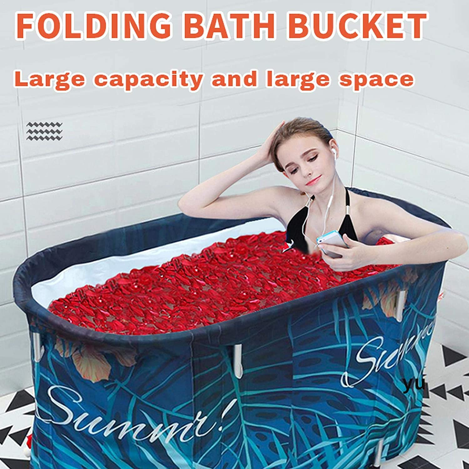 Interesty Portable Bathtub Folding Bathtub for Adults Foldable Children Tub Household Bath Basin Constant Temperature with Cover