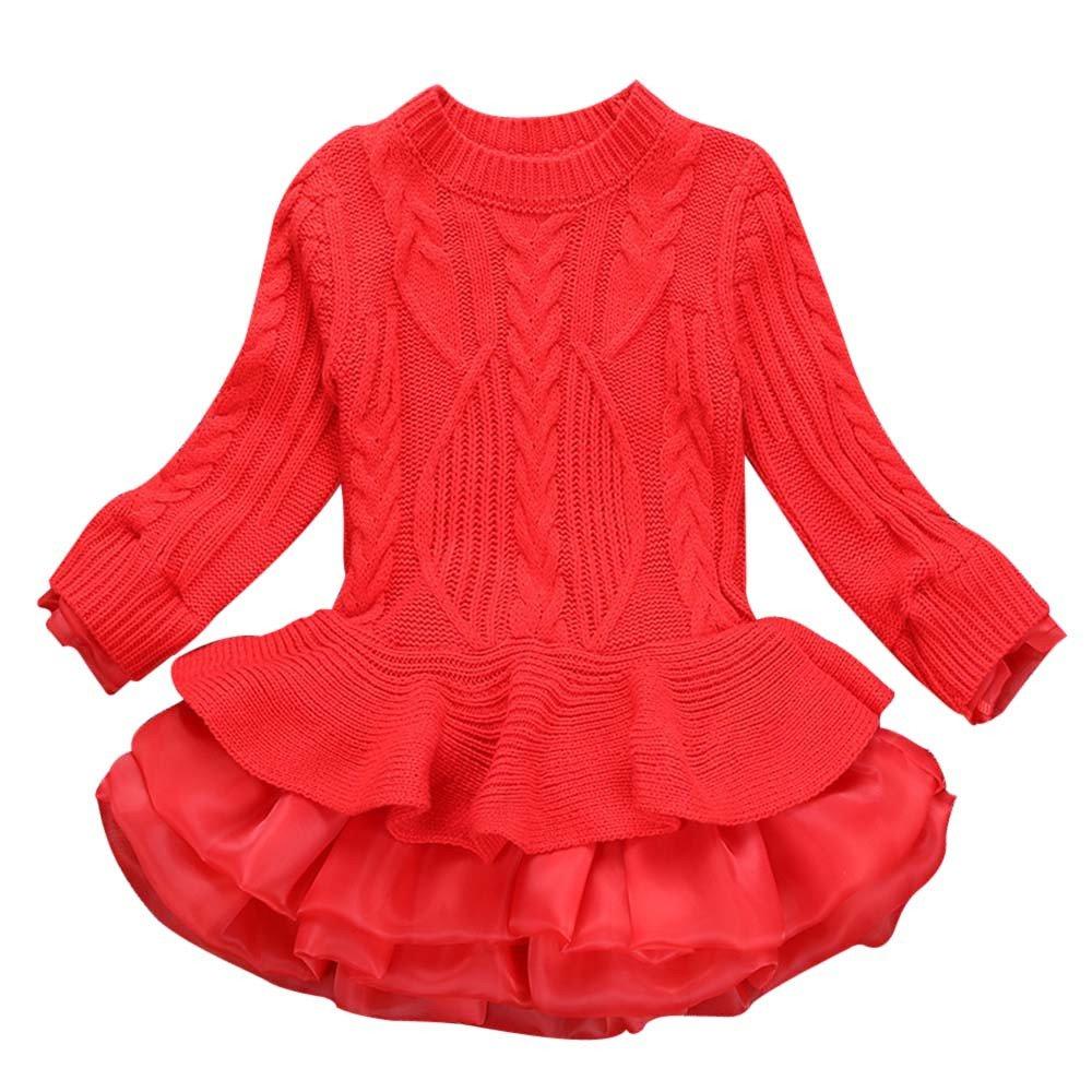 Srogem Baby Infant Girls Knit Sweater Tiered Hemline Princess Dress for Leggings