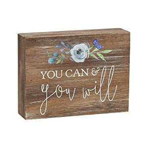 """Collins Painting Inspirational Wood Grain Mini Block Sign, 4"""" (You Can & You Will)"""
