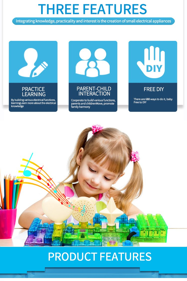 7TECH 688 Projects Integrated Circuit Electronic Building Blocks DIY Brain Game Educational Science toys for Kids