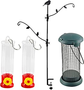 Home-X Multi-Hook Bird Feeder Pole Deck Kit with Two Adjustable Branches, Small Mesh Bird Feeder, Hanging Bird Feeding Tube, Hanging Hummingbird Feeder, Bird Feeding Tray Set of 2 Hummingbird Feeders