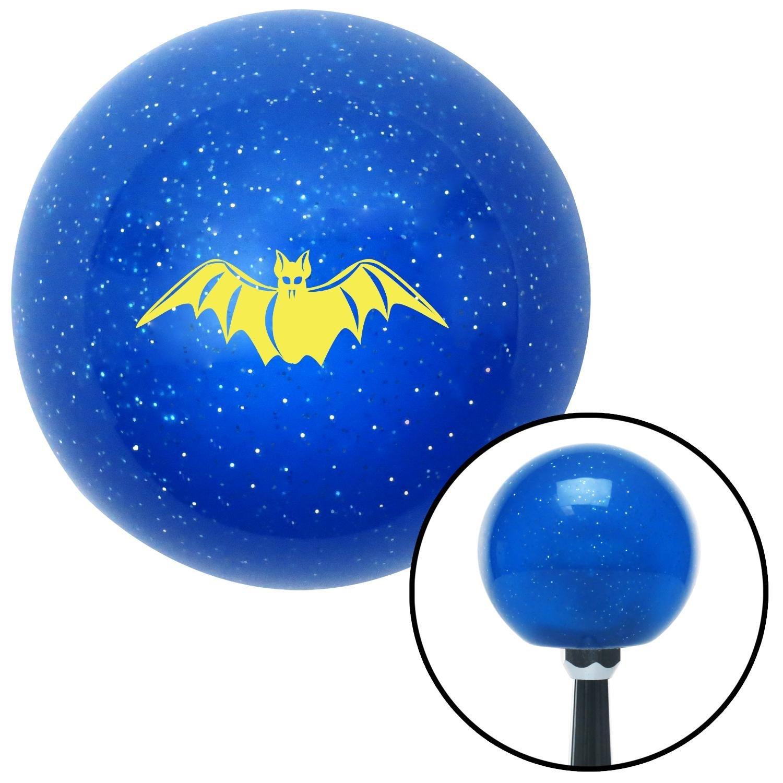 American Shifter 21461 Blue Metal Flake Shift Knob with 16mm x 1.5 Insert Yellow Bat