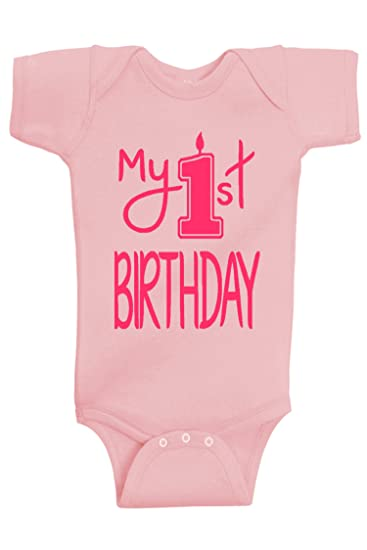 93a9ad99f Reaxion Aiden's Corner - Baby Girl Clothes - My First Birthday Bodysuit (12  Months,