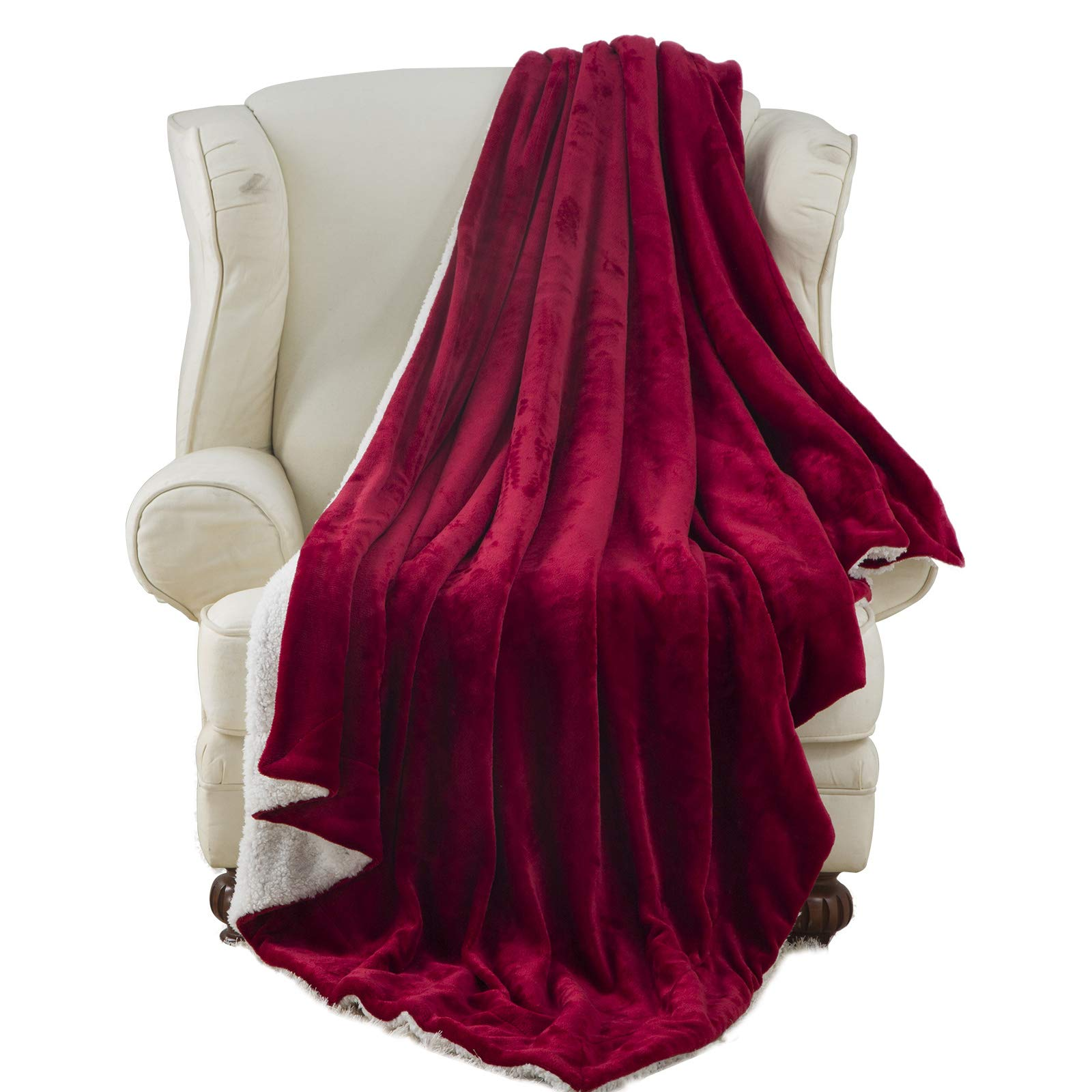 Moonen Sherpa Throw Blanket Luxurious Throw Size Brush Fabric Reversible All Season Super Soft Warm Fleece Thick Fuzzy Microplush Blanket for Bed Couch and Gift Blankets (Burgundy, 50x60 Inches)