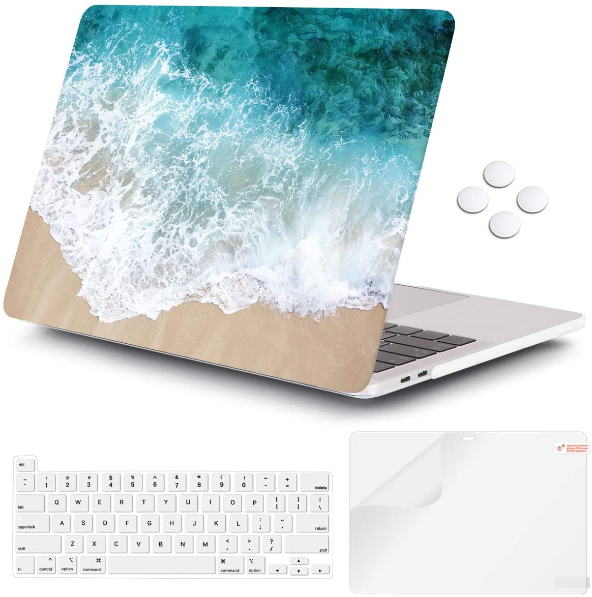 iCasso MacBook Pro 13 inch Case 2020 Release A2338M1/A2251/A2289, Plastic Hard Shell Case & Keyboard Cover & Screen Protector Only Compatible Newest MacBook Pro 13'' with Touch Bar - Beach