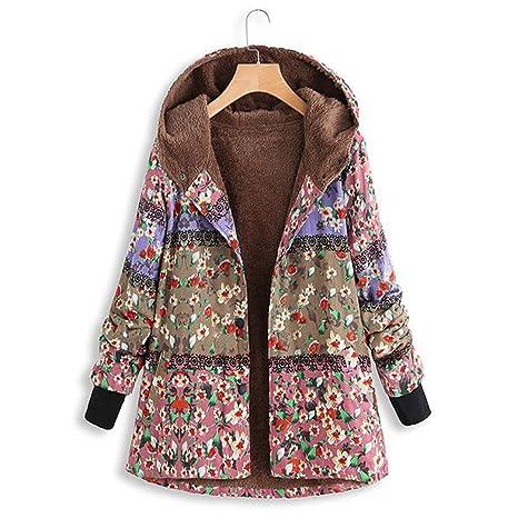 AOJIAN Women Jacket Long Sleeve Outwear Floral Print Hooded Pockets Vintage Oversize Coat at Amazon Womens Coats Shop