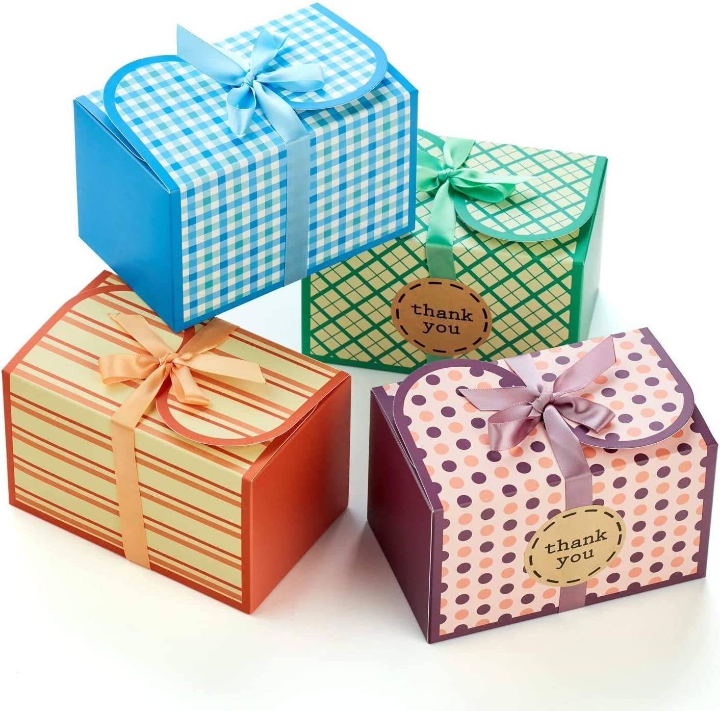 Hayley Cherie - Gift Treat Boxes with Ribbons and Thank You Stickers (20 Pack) - 6.5 x 4 x 4 inches - Thick 400gsm Card - For Cookies, Goodies, Candy, Parties, Christmas, Birthdays, Weddings