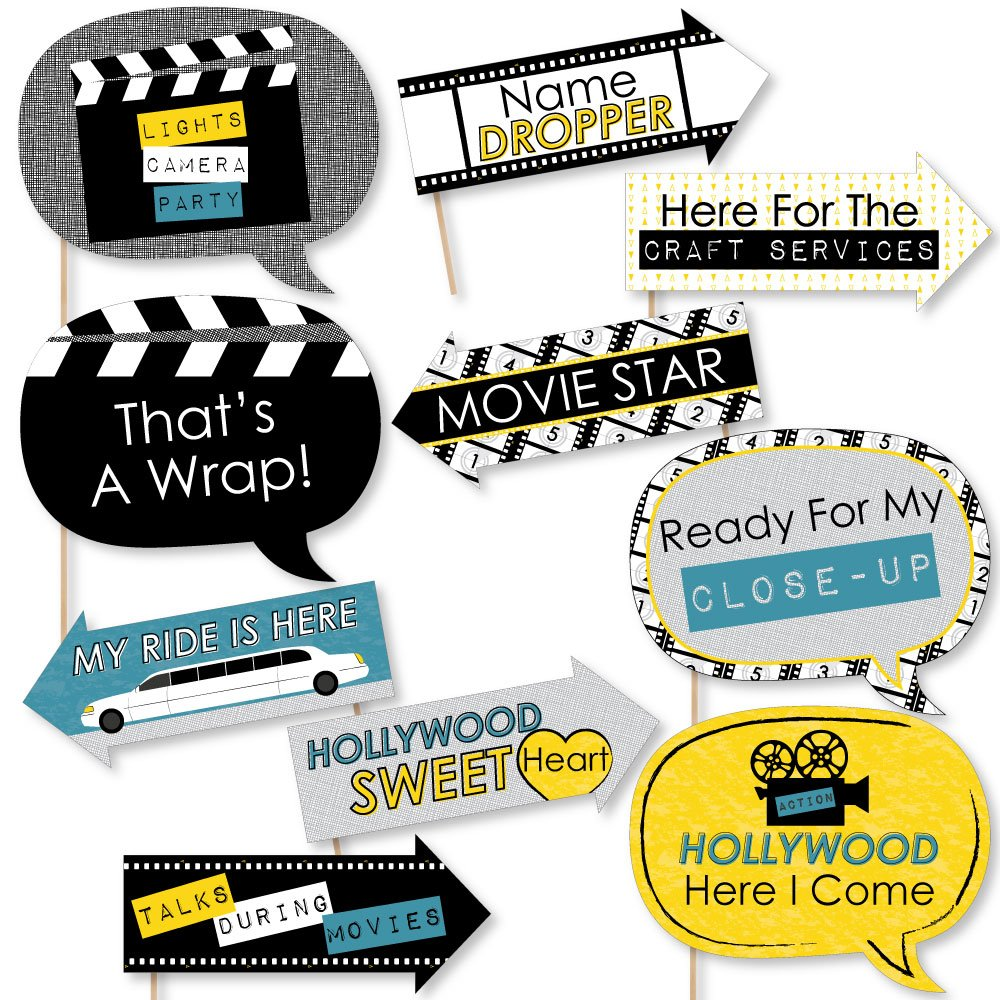 Big Dot of Happiness Funny Movie - Hollywood Party Photo Booth Props Kit - 10 Piece