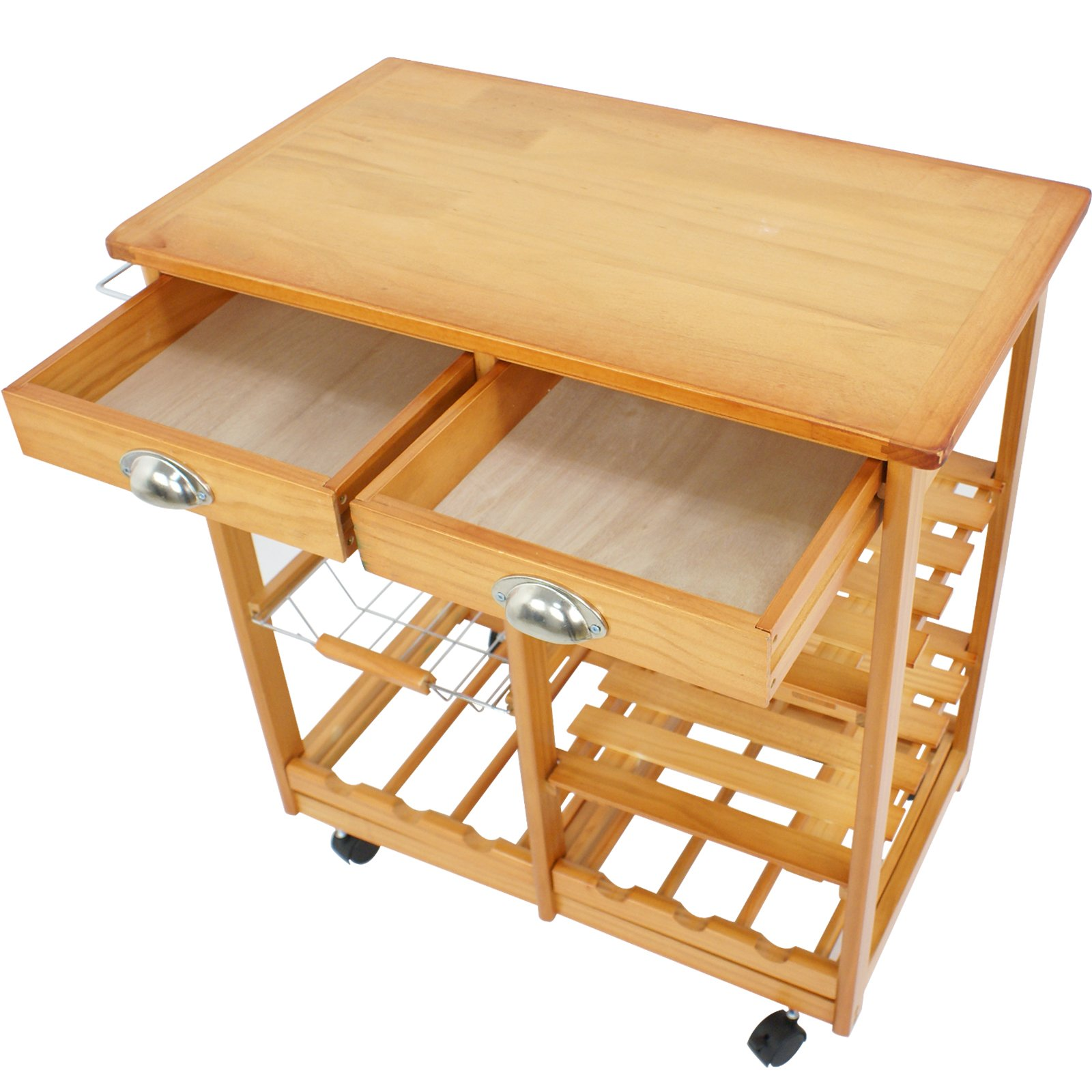 SUPER DEAL Multi-Purpose Wood Rolling Kitchen Island Trolley w/Drawer Shelves Basket by SUPER DEAL (Image #8)