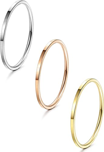 LOYALLOOK 1mm Stainless Steel Womens Plain Band Stacking Midi Rings Comfort Fit Wedding Band Ring