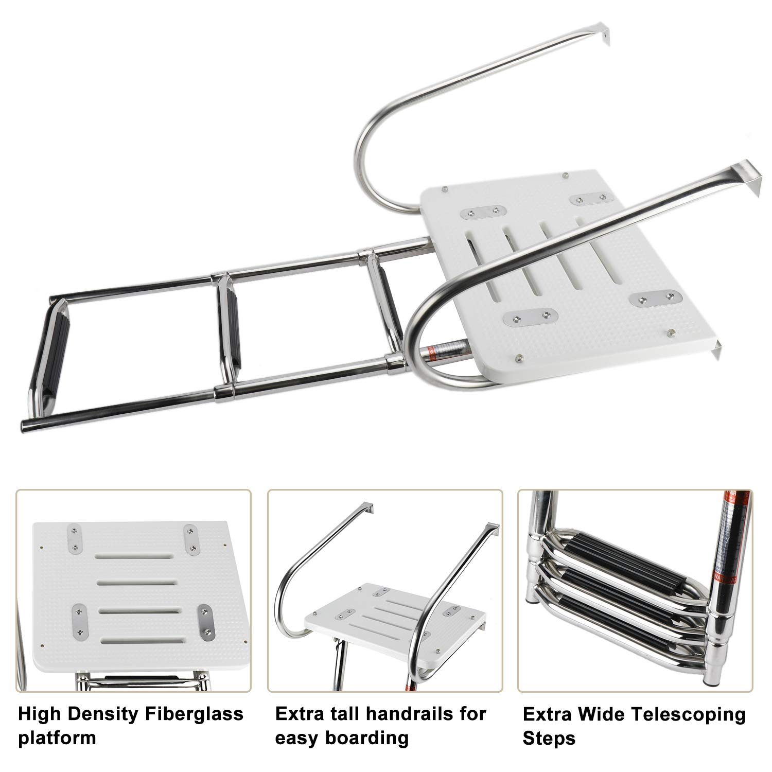 NovelBee 3 Step Universal Inboard Swim Fiberglass Platform Fold Down Ladder with Extra Wide Step and Two Handrails,Under Slide Mount Telescopic Boat Ladder with Mounting Hardware