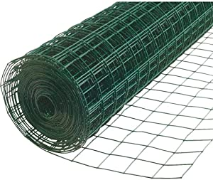 PS Direct Vinyl Hardware Cloth - 24 Inch x 50 Multipurpose Galvanized Mesh - 1.5 Inch Square Openings, Great for Chicken Coop, Livestock Fencing and Garden Use, 16 Gauge, Green, 1 Roll