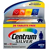 Centrum Silver for Men 50+ Multivitamin/Multimineral Supplement 100+20 Tablets