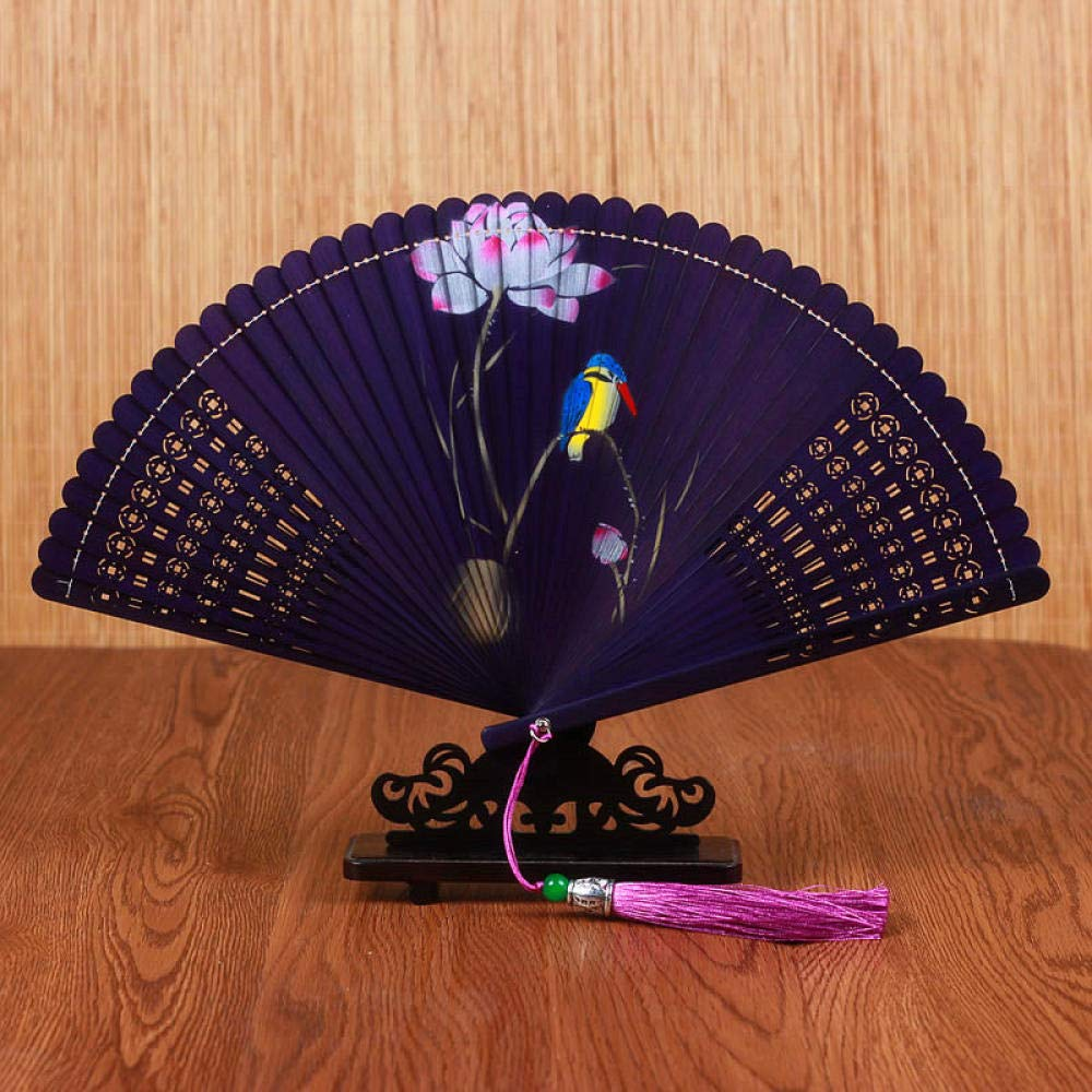 Aigial Folding Fan Chinese Style Bamboo Fan Handmade Hollow Classical Craft Gift with Folding Fan Printing Female Folding Hand Fan