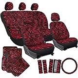 OxGord 21pc Set Zebra Car Seat Cover, Carpet Floor Mat, Steering Wheel Cover, Shoulder Pad Set - Universal Fit, Truck, SUV, or Van - Red