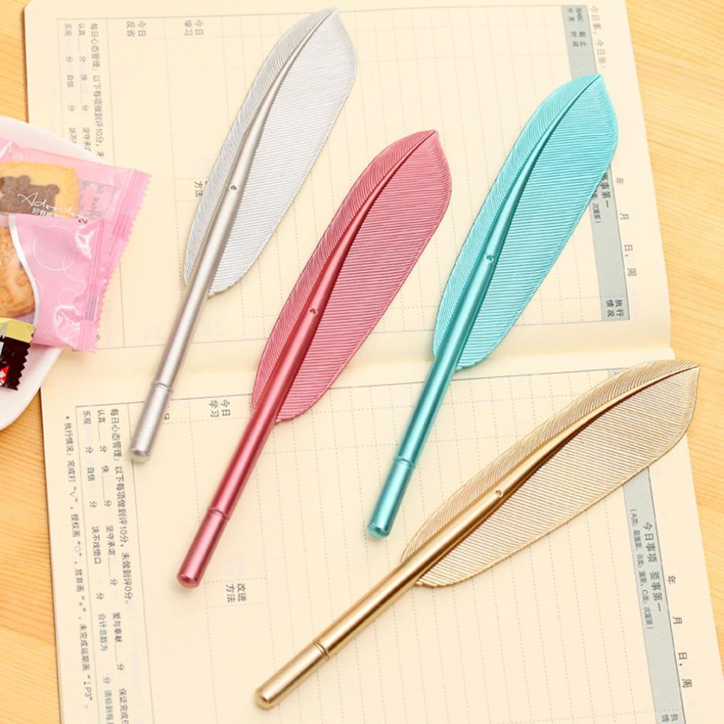 VESNIBA Unique Rollerball Pen, 4PCS Cute Wing Feather Ballpoint Ink Pens Gel Pens Creative Stationery Student Gift (A-4PCS Wing Feather) by VESNIBA (Image #9)