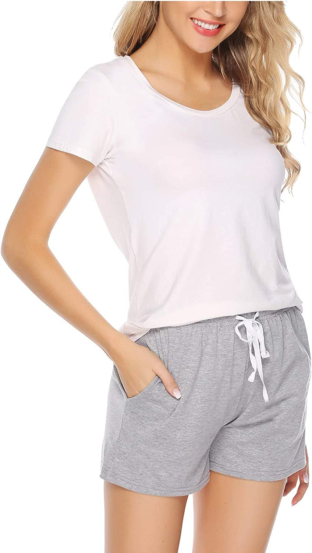 El/ástico de Rayas Cortas y S/ólidas de Algod/ón Verano Yoga Gym Bottoms Sykooria Pantal/ón Corto de Pijama para Mujer 100/% algod/ón