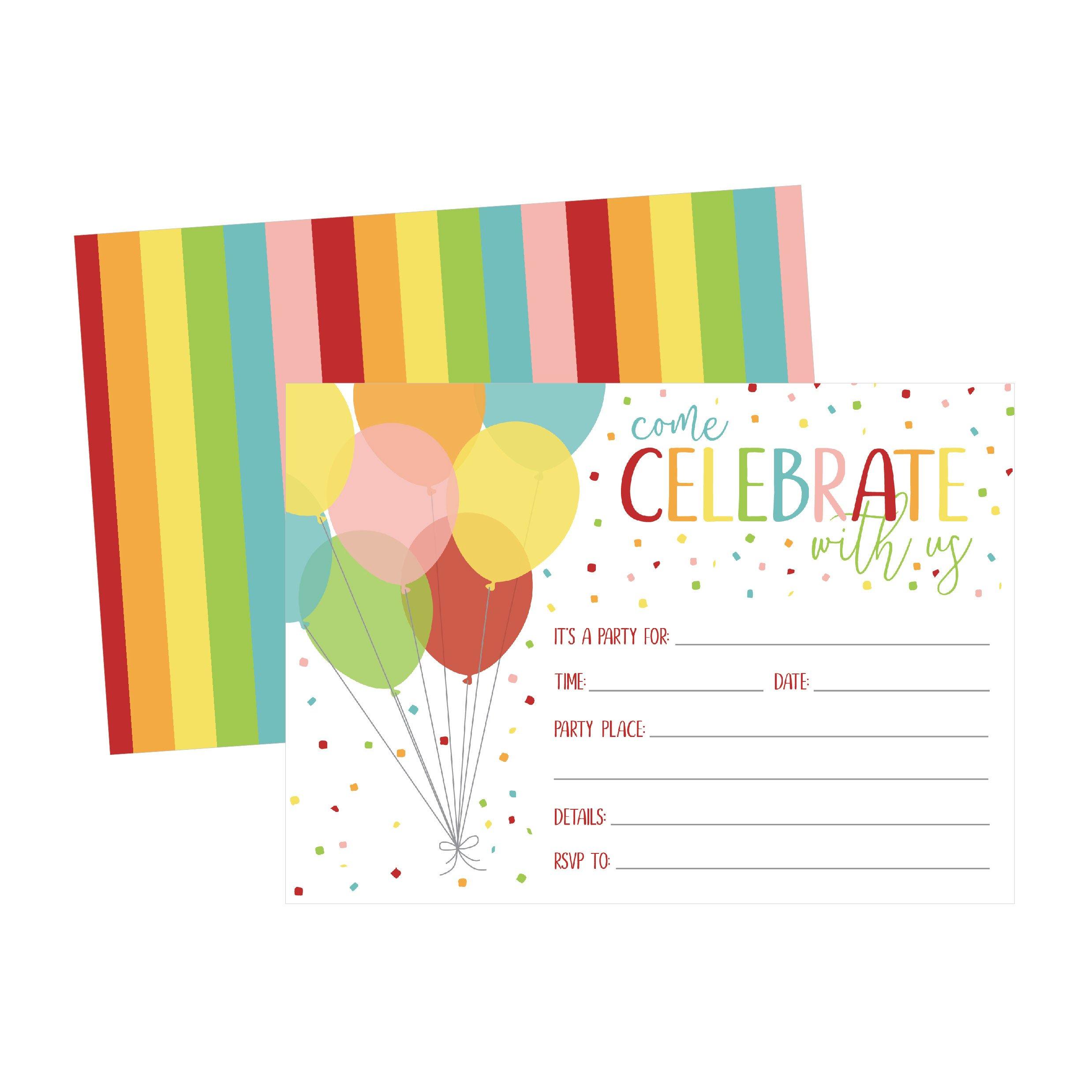 25 Rainbow Balloon Party Invitations for Kids, Teens, Adults, Boys ...