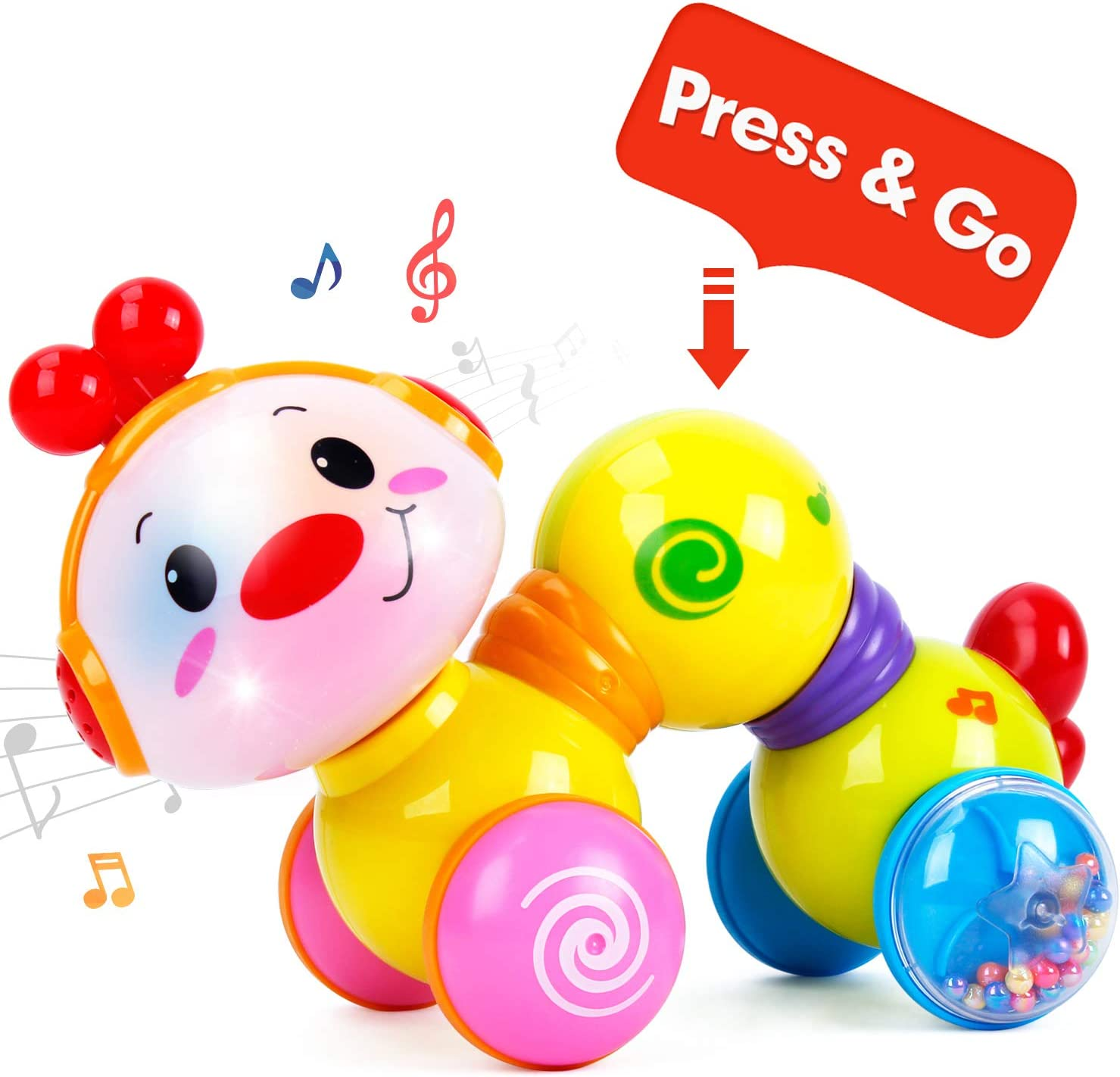 CubicFun Baby Toys Musical Press and Go Inchworm Toy with Light up Face Caterpillar Crawling Educational Toddler Toy for 6 9 12 18 24 Months Old, 1 2 3 Year Old Boys Girls