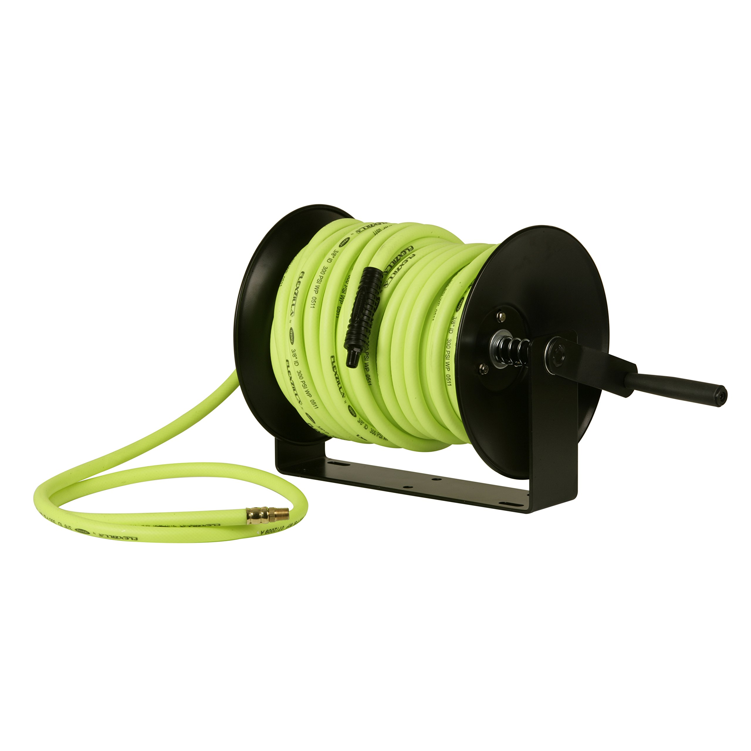 Flexzilla Manual Open Face Air Hose Reel, 3/8 in. x 50 ft, Heavy Duty, Lightweight, Hybrid, ZillaGreen - L8652FZ
