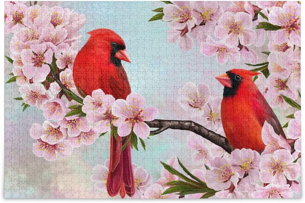 Jigsaw Puzzles 500 Pieces for Adults Kids- Cardinal Bird Puzzle Difficult and Challenge Families Learning Educational Puzzles Toys with Mesh Storage Bag Cherry Blossoms 2010118