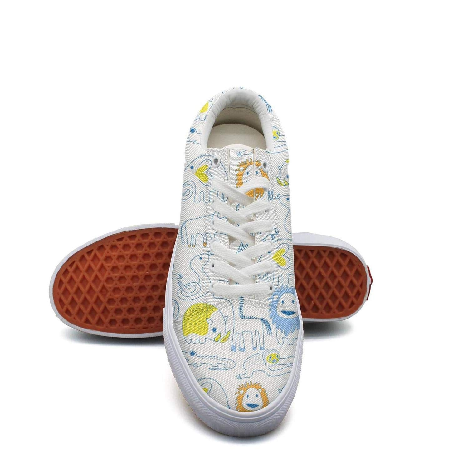 Toxeu White Animals Sloth Lace Up Sneakers Canvas Skate Shoes for Men Fashion
