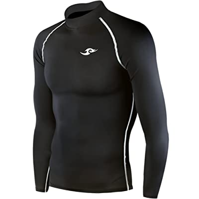 Take Five Skin Tight Compression Base Layer Black Running Shirt Mens Womens S - 3XL (S)