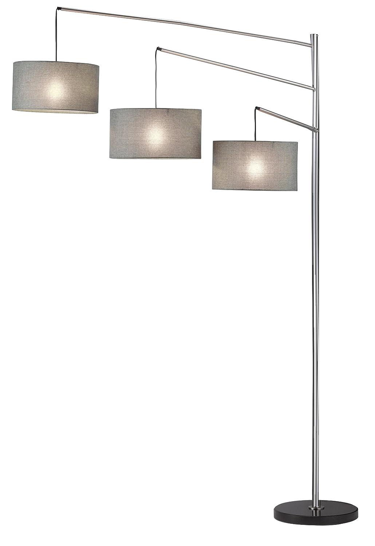 Adesso 4255-22 Wellington 91 Arc 3-Light Floor Lamp, Satin Steel, Smart Outlet Compatible