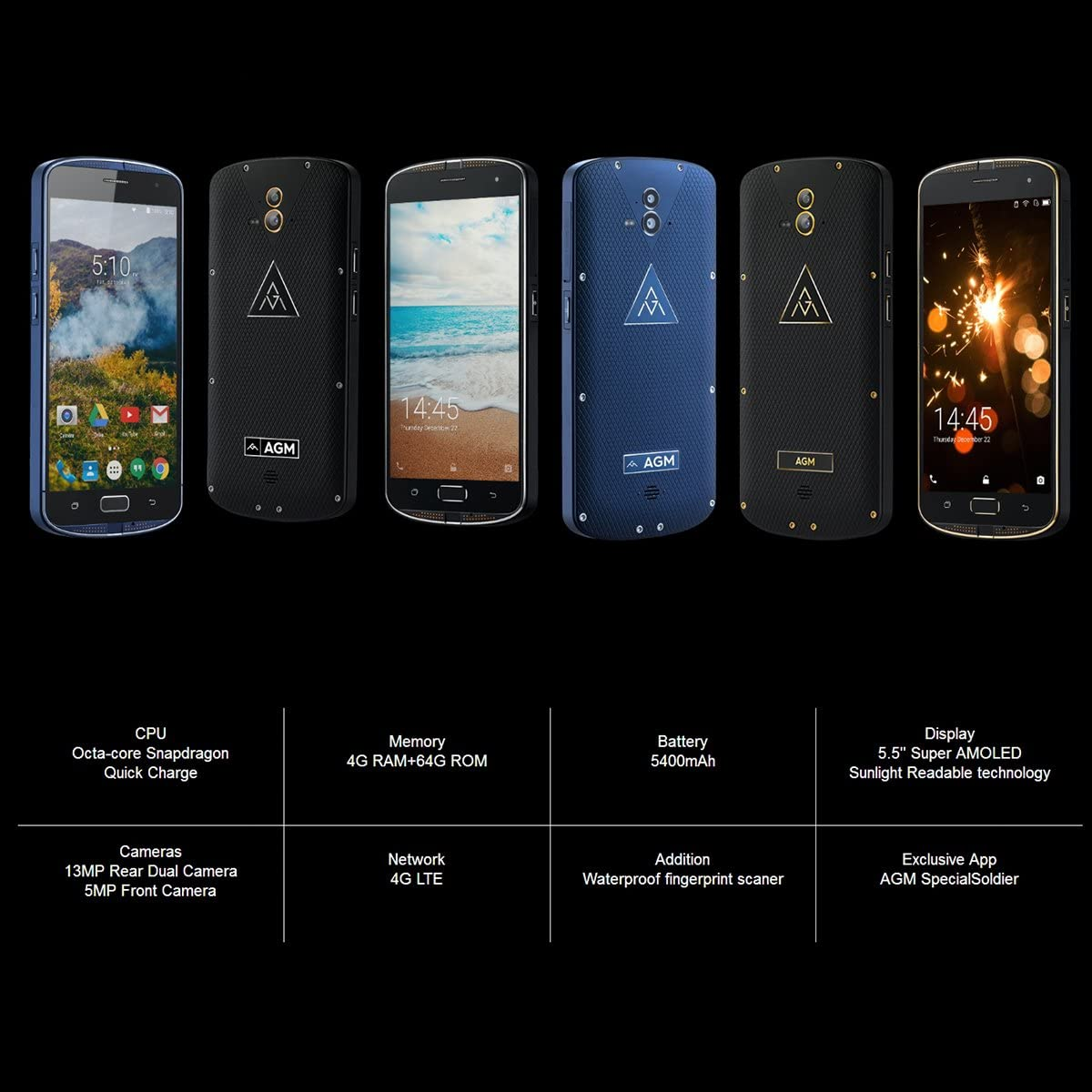 AGM X1 LTE 4G Smartphone Libre Android 5.1 (4GB RAM + 64GB ROM ...